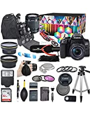 Canon EOS 850D (Rebel T8i) DSLR Camera Deluxe Video Creator Kit with Canon EF-S 18-55mm f/4-5.6 IS STM Lens + Wide Angle & Telephoto Lens + SanDisk 32GB Memory Card + Commander Optics Accessory Bundle