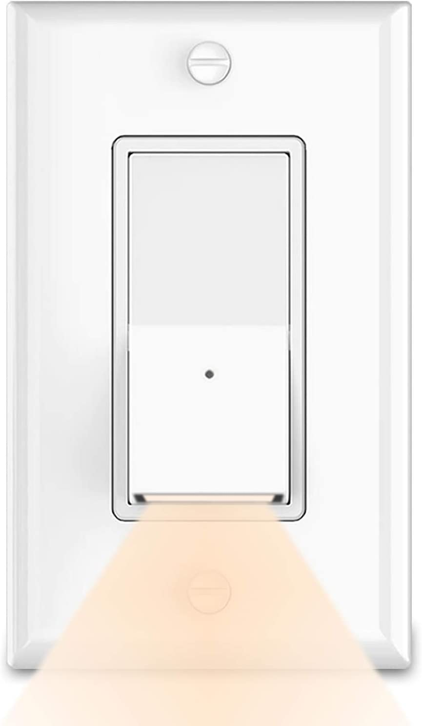 10Pack Decorator On/Off Paddle Rocker Light Switch with LED Night Light,Single Pole,3 Wire,Grounding Screw,Residential Grade,15A 120V,Decora Interrupter Without Wall Switch Plates,Warm White LED