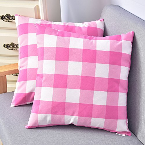 (NATUS WEAVER Set of 2 Valentine's Day Classic Retro Checkers Pink and White Plaids Deluxe Square Throw Pillow Cover Cushion Case for Sofa 18 x 18 inch,45cm)