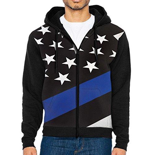 Burgundy Lines Full Zip Jacket (AWAWAWAWA AWAWAWA Men's Black Line Flag Full Zip Hoodie Sweatshirt Cool Jacket Coat Outwear)