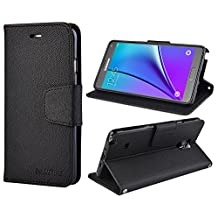 Samsung Galaxy Note 4 Leather Case, Note4 Wallet Case, Flip Cover with Card Slot, Magnetic Closure, Hand Strap and Stand Function for Samsung Galaxy Note4 (Black)