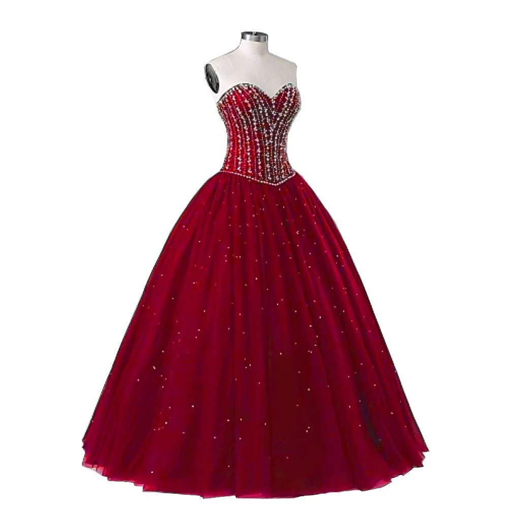 color 10 Unions Women Sweetheart Ball Gown Crystals Beaded Tulle Wedding Dresses Bridal Gown Plus Size