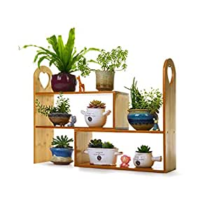 WAN SAN QIAN- Bamboo Rattan Floor Stand 2 Tier Creative Rectangle Living Room Flower Rack Balcony Living Room Flower Shelf Combination Flower Stand Flower racks