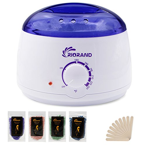 RioRand Wax Warmer Hair Removal Kit with Hard Wax Beans and Wax Applicator Sticks by RioRand