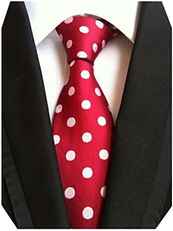 MENDENG Classic Polka Dot White Red Ties Jacquard Woven Silk Men's Tie Necktie