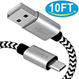 Charging Cable For LG V20,[10FT ] Extra Long Durable USB C Cable Nylon Braided USB Type A To C Fast Charging Cord For LG V30 G5 G6 USB Cable,Google Pixel 2 XL Samsung Galaxy S9 S8 S8+ Note 8,Moto Z Z2