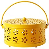Yunhigh Mosquito Coil Holder Retro Portable Mosquito Incense Burner Box Container with Handle & Cover for Indoor Outdoor Camping Home Decor - Yellow