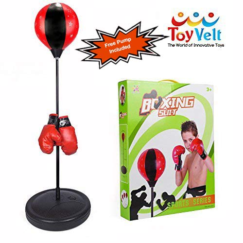 Bag Gloves Set - ToyVelt Boxing Set With Punching Ball + Hand Pump + Boxing Gloves - Height Adjustable Base, Easy Setup & Portable Design | Top Gifting Idea For Boys and Girls Ages 3 - 14 Years Old