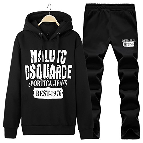 Real Spark(TM) Casual Hoodies Pullover Jogger Sports Suit Set Men Black XXL