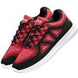 VANSKELIN Men's Knit Running Shoes Cross Training Shoes Lightweight Athletic Shoes Outdoor Sneakers (11 D(M) US/45 M EU, Red/Black)