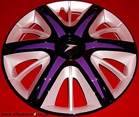 4 Maximus Race de tapacubos negro de aluminio de color lila de 14 pulgadas de nuevo de Top de con barniz: Amazon.es: Coche y moto