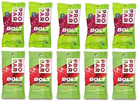 Probar Bolt Organic Energy Chews Bundle Raspberry and Strawberry – Six of Each Flavor, Box of 12