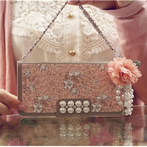 Max-BLV Luxury Pink Pearl Flower Handbag Wristlet Card Slot Strap Wallet Flip Phone Case Cove for Samsung Galaxy S7 Sales