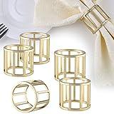 Set of 6 Modern Design Round Metal Dining Napkin Ring Holders, Brass-Tone