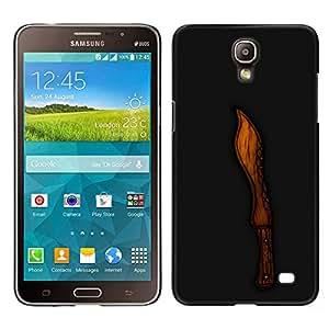 LECELL--Funda protectora / Cubierta / Piel For Samsung Galaxy Mega 2 -- Madera Cut Knife Negro Tallado --