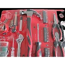 58 pc. Tool Set, hammer, pliers, measuring tape, wrench, hex keys, ensemble de outils et accessoires