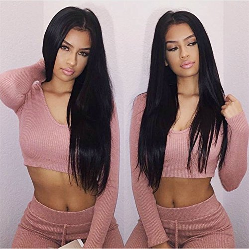 H&N Hair Brazilian Virgin Hair Full Lace Wigs Straight Human Hair Wigs with Baby Hair 130% Density For Black Women Natural Color (12inch) by Bellishe