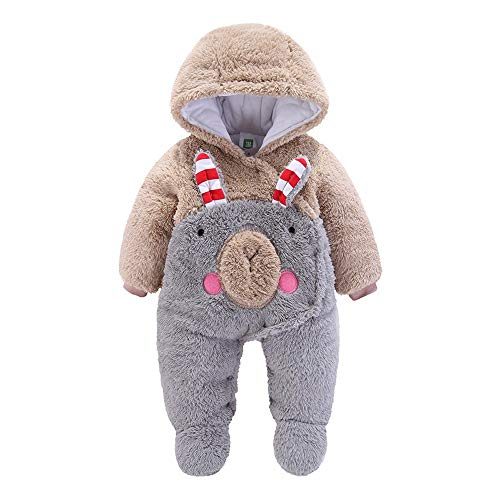 Bear Girls Outfits Hooded Jumpsuit Outwear Cartoon Velvet Romper Snowsuit Solid Cotton Unisex Costume Plush Winter Thicken Newborn Baby Cute Anglewolf Khaki Clothes Boys Suit Animal zZYEYq