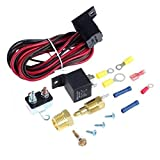 S-WEKA 185~200 Degree Engine Cooling Fan Thermostat Temperature Switch Sensor Relay Kit
