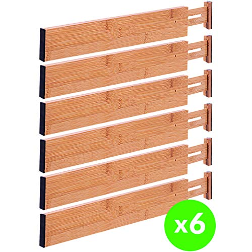 Drawer Dividers Bamboo Kitchen Organizers Set of 6 - Spring Loaded Drawer Divider Adjustable & Expandable Drawer Organizer - Best for Kitchen, Bedroom, Dresser, Baby Drawers & -