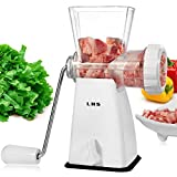 Meat Grinder Manual, LHS Hand Meat Grinder 3-In-1 Sausage Maker Stuffer Dough/Cookie Shaper with Stainless Steel Blades Powerful Suction Base with Switch(White) Hand Crank Mincer