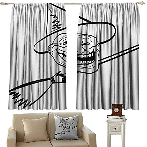 DuckBaby Kids Room Curtains Humor Halloween Spirit Themed Witch Guy Meme LOL Joy Spooky Avatar Artful Image Print Thermal Insulated Tie Up Curtain W55 xL63 Black and White]()