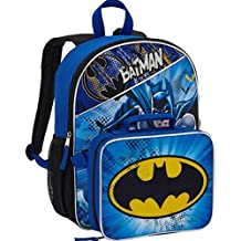 Warner Bros Batman Large Backpack Bag and Insulated Lunchbox Lunch Bag