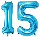 ZiYan 40 Inch Giant 15th Blue Number Balloons,Birthday / Party balloons