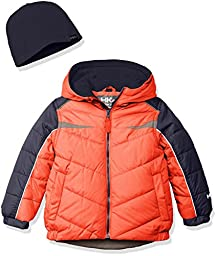 Hawke & Co. Little Boys\' Toddler Puffer Coat with Contrast Pieced Insert, Campfire, 3T