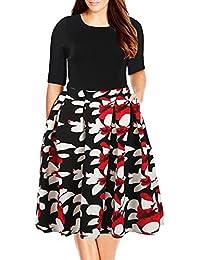 Women's Floral Print Vintage Style Plus Size Swing Casual Party Dress