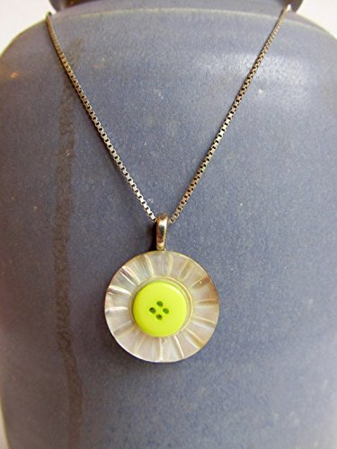 (Vintage Carved Mother of Pearl Button Pendant Necklace, Lime Green Button Accent, 16