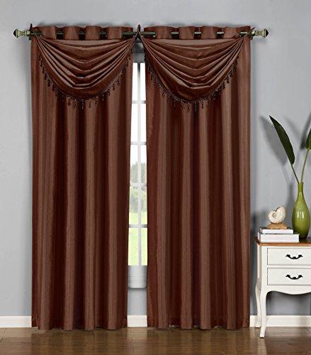 Window Elements Jane Faux Silk 36 x 37 in. Grommet Waterfall Window Valance, Chocolate ()