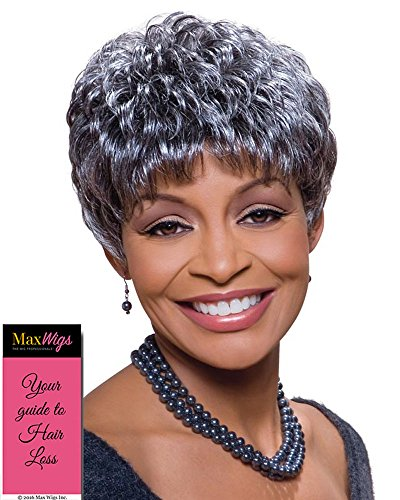 (Sassy Wig Color 280 - Foxy Silver Wigs Pixie Wavy Synthetic Feathered Bangs African American Women's Machine Wefted Lightweight Average Cap Bundle with MaxWigs Hairloss)