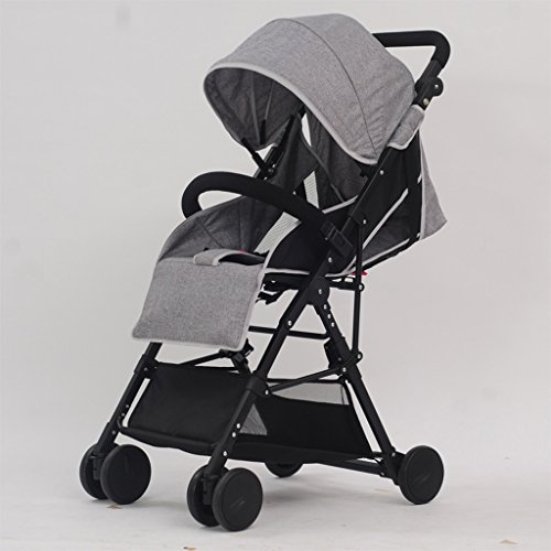 SXZHSM-Strollers Baby Strollers Ultralight Portable Foldable Lies High Landscape Kids Stroller (Gray) (Blue) (Burgundy) 60 x 98cm (Color : Gray)