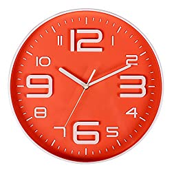 10 Inch Non Ticking Wall Clock Big 3D Arabic Numerals Indoor Silent Movement Modern Wall Clock Battery Operated Orange