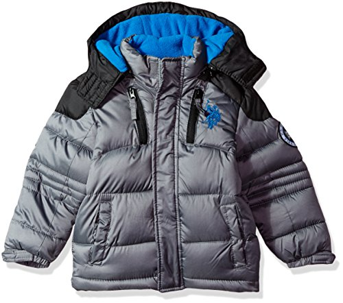 US Polo Association Big Boys' Bubble Jacket (More Styles Available), UC07-Charcoal/Black, 14/16