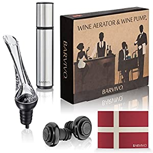 Wine Aerator and Wine Saver Pump with 2 Vacuum Bottle Stoppers by Barvivo - Pour, Aerate, Enjoy and Preserve Your Red Wine, it Will Taste 3 Times Better Than Originally and Stay at its Best for Days.