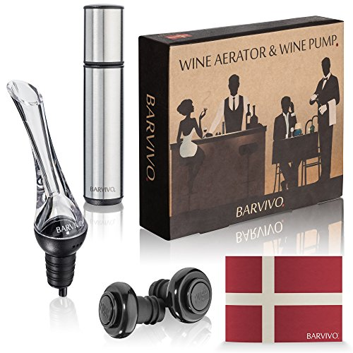 Wine Aerator and Wine Saver Pump with 2 Vacuum Bottle Stoppers by Barvivo - Pour, Aerate, Enjoy and Preserve Your Red Wine, it Will Taste 3 Times Better Than Originally and Stay at its Best for Days. - Menu Set Vacuum Stopper