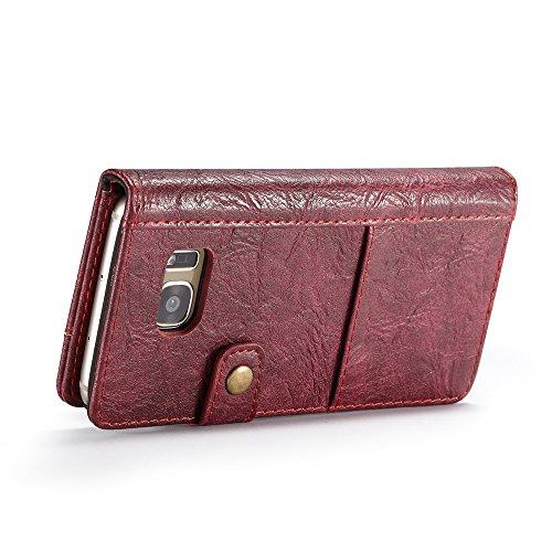 Grandcaser Funda para Samsung Galaxy S7 Edge,Rugged Armor Premium Cuero Book Style Protectora Flip Wallet Billetera Carcasa con Porta Tarjetas y Ranura Case Cover - Negro Rojo