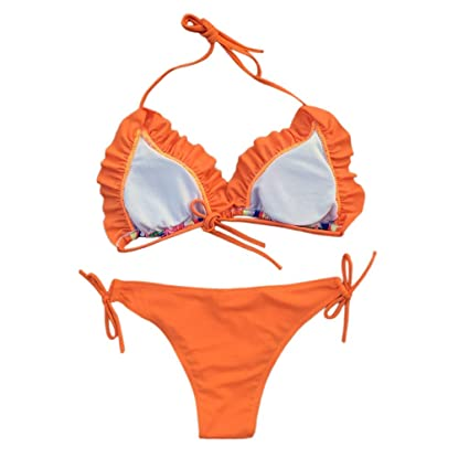 Luckycat Bikini Set Bikini Floral de Cabestro Sexy Traje de Baño Dos Pieza Tops Sujetador Bikini Parte de Arriba Bañadores Traje de Baño Ropa Verano: ...