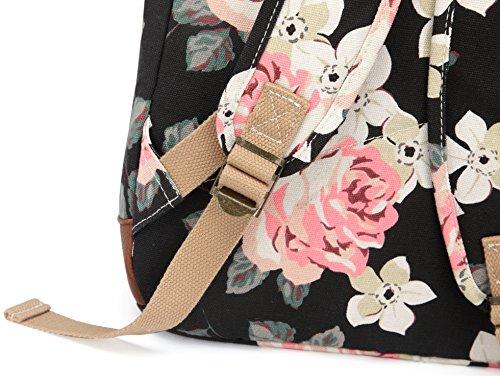 Kenox Girl's School Rucksack College Bookbag Lady Travel Backpack 14Inch Laptop Bag (Floral) by Kenox (Image #5)