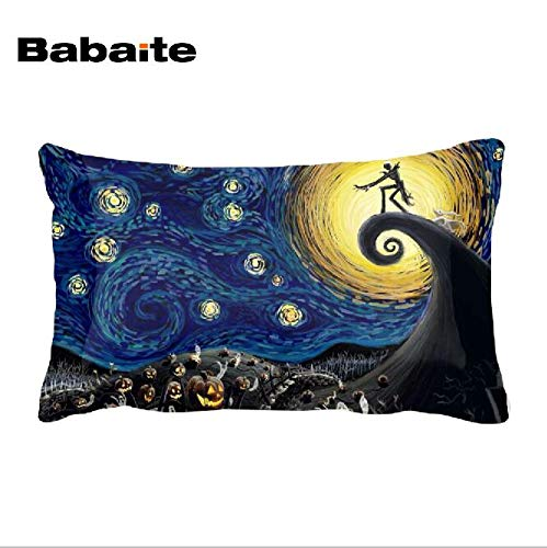 CHITOP Nightmare Before Christmas | Van Gogh Starry Blossoming Almond Night Nightmare Before Christmas Art Throw Pillowcase Invisible Zippered Twin Sides -