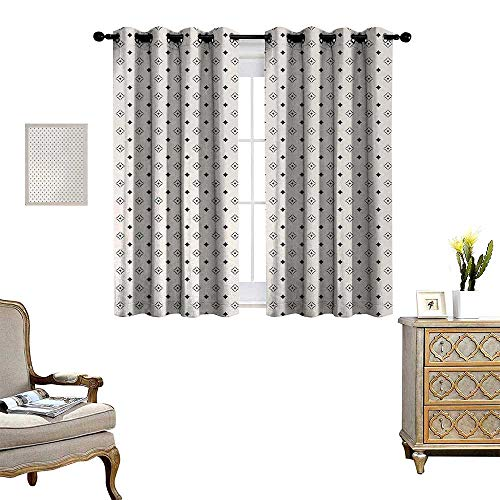 Cotton Hill Curtain (Geometric Thermal Insulating Blackout Curtain Old Fashioned Wallpaper Design with Floral Like Geometrical Icons Art Patterned Drape for Glass Door W55 x L39 Charcoal Grey Beige)
