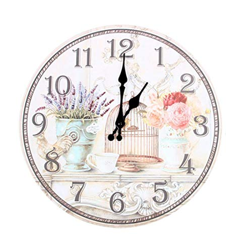Shabbi - Floral Vintage Shabby Chic Style 34cm Wall Clock Home Bedroom Quartz - Color Numerals Digital Stickers That Operated Contemporary Yellow Prime Glow Mosaic Silver Chime Sale Plug