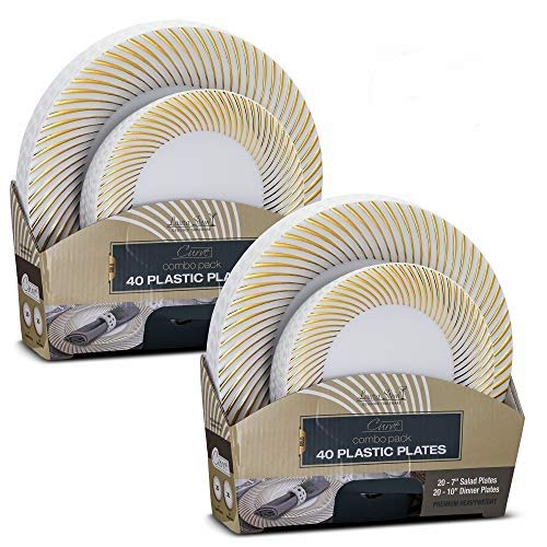 Laura Stein Elegant Plates/Bowls (2 Combo Packs, 80 Plates (40 Sets), White & Gold) -