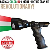 Wicked Lights A67iC Ambush 3-Color-In-1 (Green, Red, White LED) Night Hunting Ergo Scan Light Kit With Intensity Control for Coyote, Predator, Varmint & Hogs