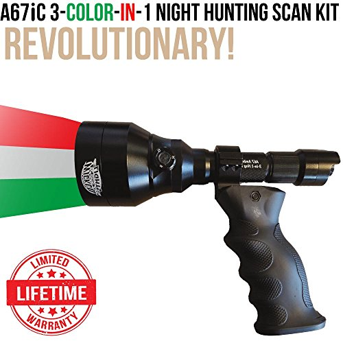 Wicked Lights A67iC Ambush 3-Color-In-1 (Green, Red, White LED) Night Hunting Ergo Scan Light Kit With Intensity Control for Coyote, Predator, Varmint & Hogs by Wicked Lights