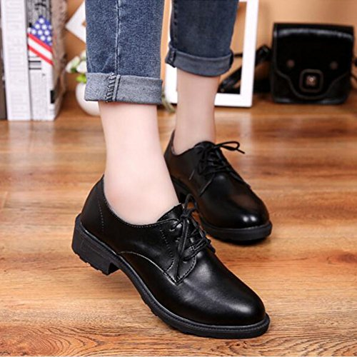 Shoes up Round Black Top Summerwhisper Classic Toe Low Womens Lace Oxfords fnWcW1O
