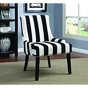 Coaster Home Furnishings Modern Transitional English Roll Arm Tight Wing Back Swoop Accent Lounge Chair with Chrome Nailhead Trim - Navy & White Stripe Fabric