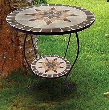 Linoows Mesa de Flores Florero Constanza, Mosaico Mesa en Mediterráneo Estilo: Amazon.es: Jardín
